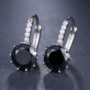 Jewelry - Black Onyx & Silver Round Dangle Earrings